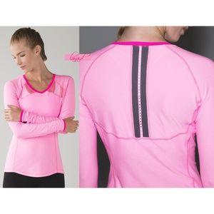 Lulu Pace Pusher Pink Mesh Cutouts Reflective Top